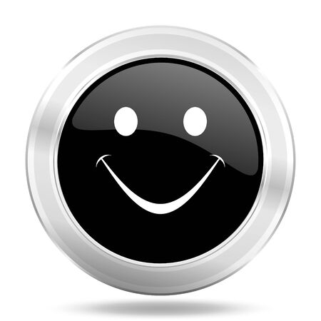 smileys: smile black icon, metallic design internet button, web and mobile app illustration