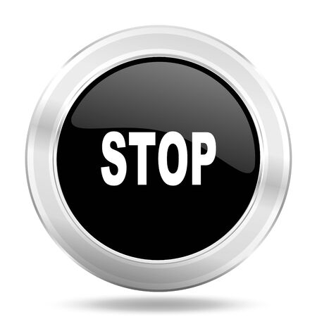 proscribed: stop black icon, metallic design internet button, web and mobile app illustration Stock Photo