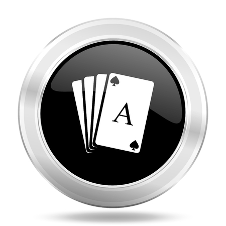 picto: card black icon, metallic design internet button, web and mobile app illustration Stock Photo