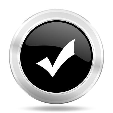 yea: accept black icon, metallic design internet button, web and mobile app illustration