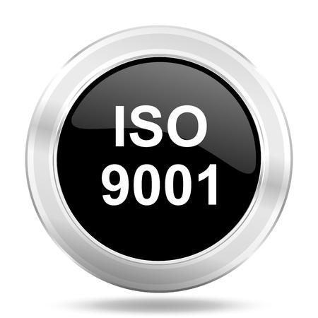 standard steel: iso 9001 black icon, metallic design internet button, web and mobile app illustration Stock Photo