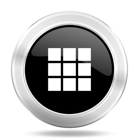 thumbnails: thumbnails grid black icon, metallic design internet button, web and mobile app illustration Stock Photo