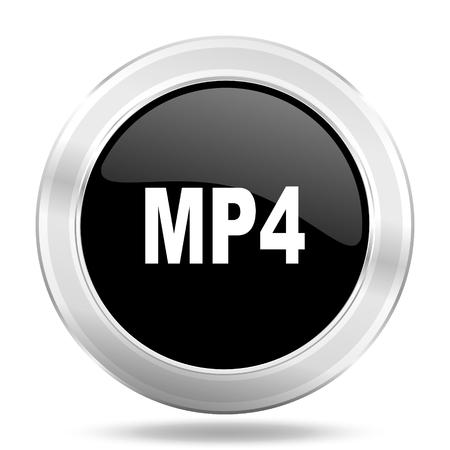 mp4: mp4 black icon, metallic design internet button, web and mobile app illustration
