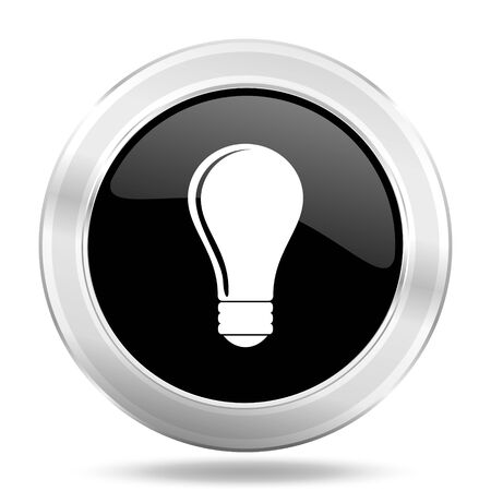 metal light bulb icon: bulb black icon, metallic design internet button, web and mobile app illustration Stock Photo