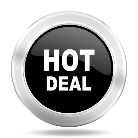 best ad: hot deal black icon, metallic design internet button, web and mobile app illustration Stock Photo