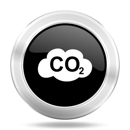 dioxido de carbono: icono de dióxido de carbono negro, botón metálico de diseño web, web e ilustración de aplicaciones móviles Foto de archivo