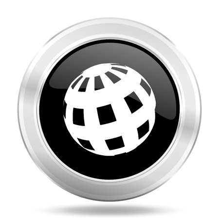 parallels: earth black icon, metallic design internet button, web and mobile app illustration