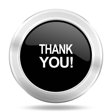 te negro: gracias icono negro, botón metálico de diseño web, web e ilustración de aplicaciones móviles