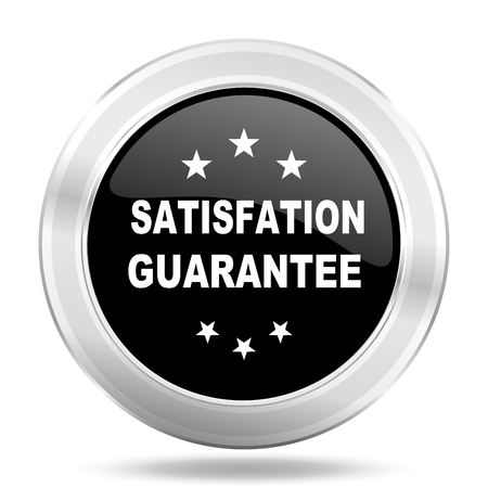 satisfaction guarantee: satisfaction guarantee black icon, metallic design internet button, web and mobile app illustration