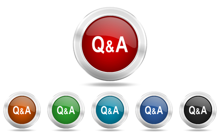 question and answer: question answer round glossy icon set, colored circle metallic design internet buttons Stock Photo