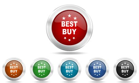 best buy: best buy round glossy icon set, colored circle metallic design internet buttons