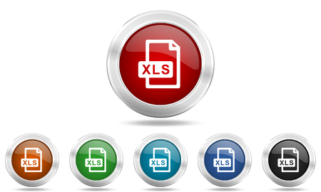 xls: xls file round glossy icon set, colored circle metallic design internet buttons