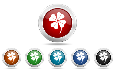 fourleaf: four-leaf clover round glossy icon set, colored circle metallic design internet buttons