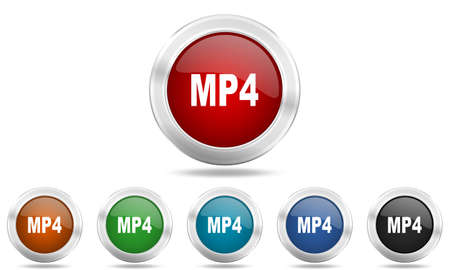 mp4: mp4 round glossy icon set, colored circle metallic design internet buttons
