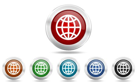 parallels: earth round glossy icon set, colored circle metallic design internet buttons Stock Photo
