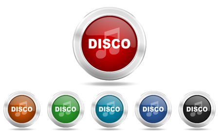 live stream radio: disco music round glossy icon set, colored circle metallic design internet buttons