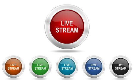 live stream tv: live stream round glossy icon set, colored circle metallic design internet buttons Stock Photo