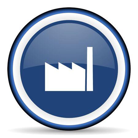 industrialist: factory round glossy icon, modern design web element Stock Photo