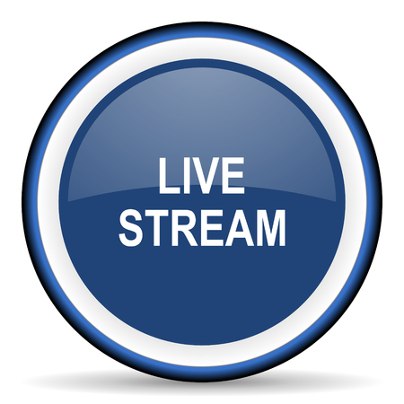 livestream: live stream round glossy icon, modern design web element