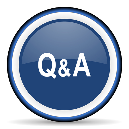 question and answer: question answer round glossy icon, modern design web element Stock Photo