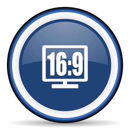 16: 16 9 display round glossy icon, modern design web element