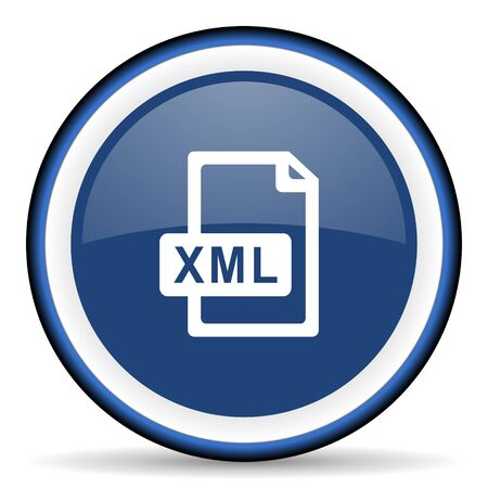 xml: xml file round glossy icon, modern design web element