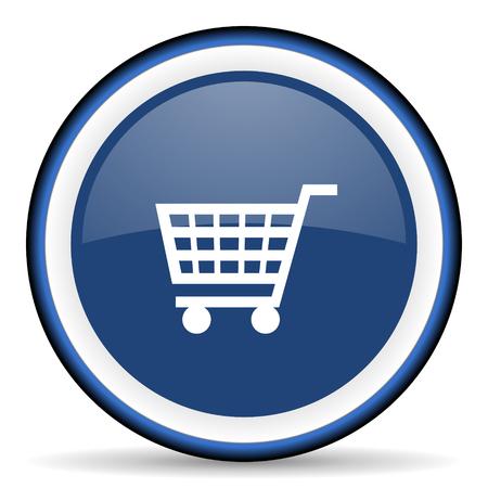 blue button: cart round glossy icon, modern design web element