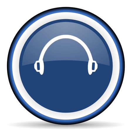 telemarketer: headphones round glossy icon, modern design web element Stock Photo