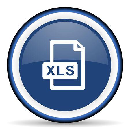 xls: xls file round glossy icon, modern design web element