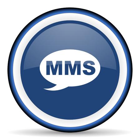 mms: mms round glossy icon, modern design web element Stock Photo