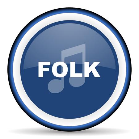 folk music: folk music round glossy icon, modern design web element