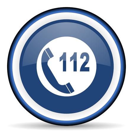 emergency call: emergency call round glossy icon, modern design web element