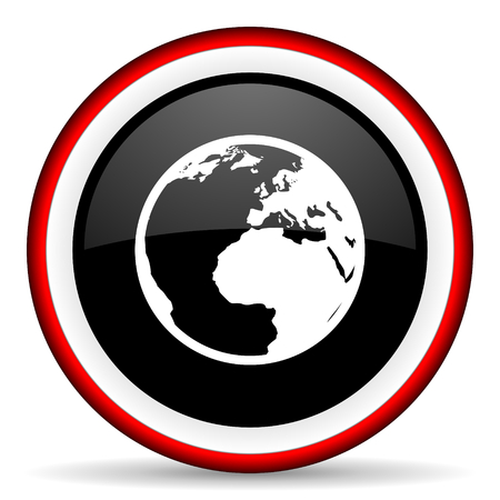 parallels: earth round glossy icon, modern design web element