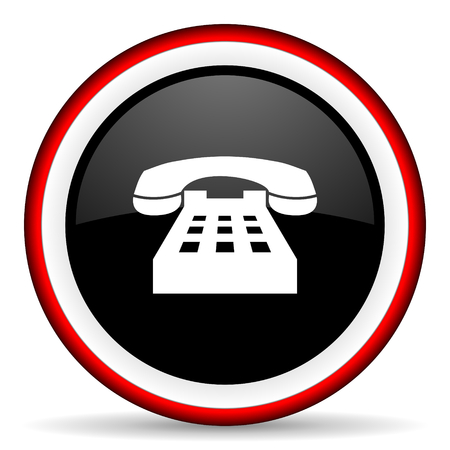 technological and communication: phone round glossy icon, modern design web element Stock Photo