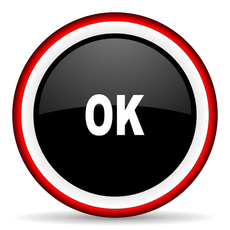 approval button: ok round glossy icon, modern design web element