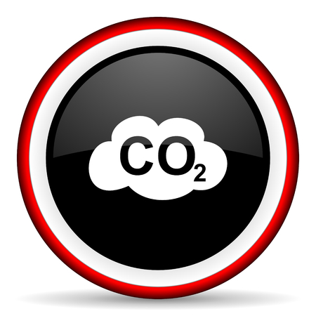 carbon dioxide: carbon dioxide round glossy icon, modern design web element