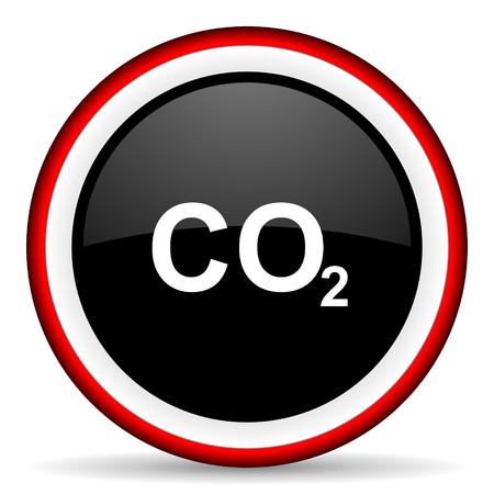 dioxido de carbono: el dióxido de carbono ronda icono brillante, moderno diseño del elemento del Web