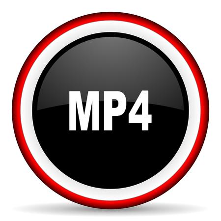 mp4: mp4 round glossy icon, modern design web element