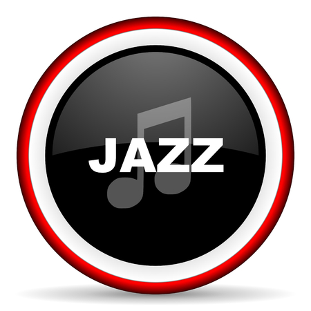 listen live stream: jazz music round glossy icon, modern design web element Stock Photo