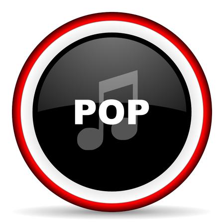 live stream sign: pop music round glossy icon, modern design web element