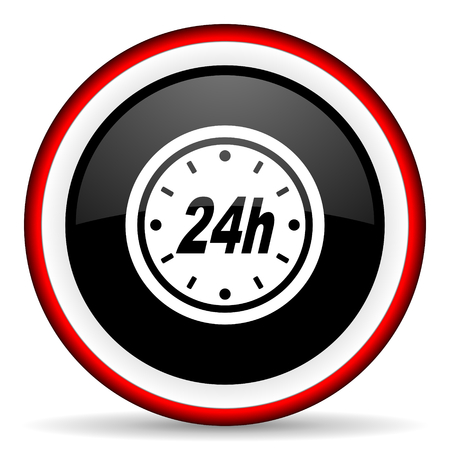 24h: 24h round glossy icon, modern design web element Stock Photo
