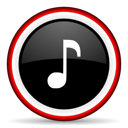 melodic: music round glossy icon, modern design web element