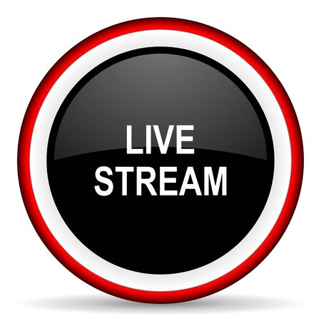 live stream: live stream round glossy icon, modern design web element