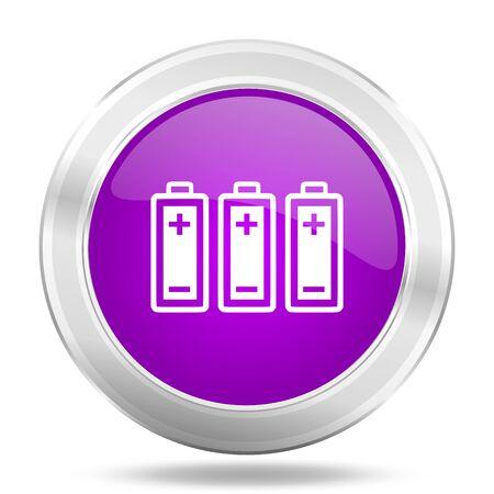 original ecological: battery round glossy pink silver metallic icon, modern design web element