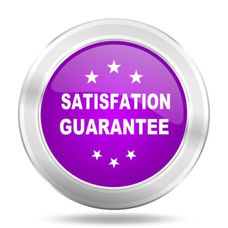 satisfaction guarantee: satisfaction guarantee round glossy pink silver metallic icon, modern design web element Stock Photo