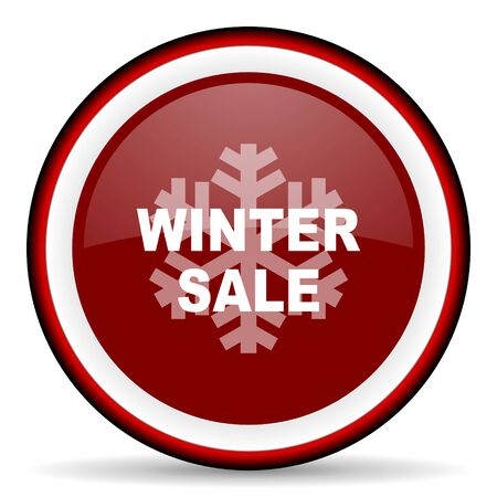 pushbuttons: winter sale round glossy icon, modern design web element Stock Photo