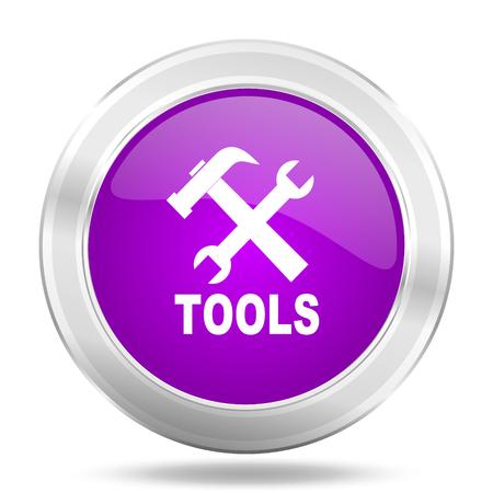 tools icon: tools round glossy pink silver metallic icon, modern design web element