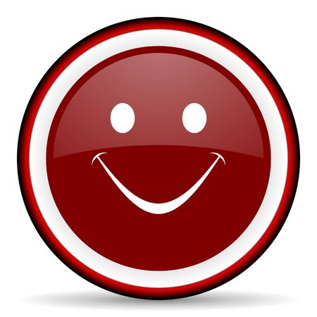 yea: smile round glossy icon, modern design web element Stock Photo