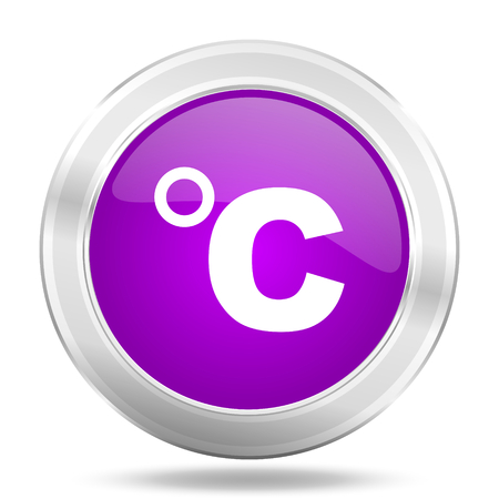 celcius: celsius round glossy pink silver metallic icon, modern design web element Stock Photo