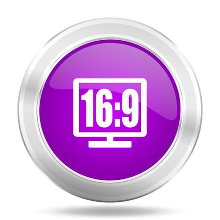 programm: 16 9 display round glossy pink silver metallic icon, modern design web element